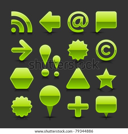 Green glossy web button set with black drop shadow and dark reflection on gray background - stock vector