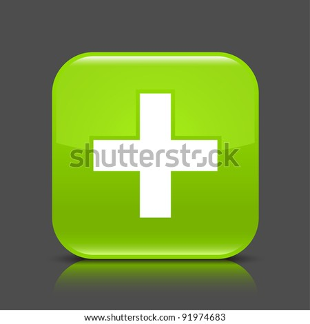 Green glossy web button with addition sign. Rounded square shape icon with black shadow and colored reflection on dark gray background. This vector illustration created and saved in 8 eps - stock vector