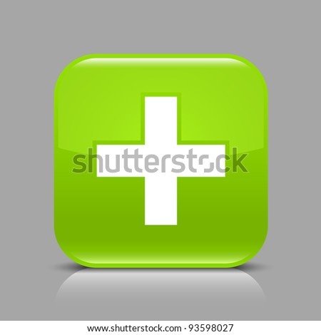 Green glossy web button with addition sign. Rounded square shape icon with black shadow and light reflection on gray background. This illustration saved in 8 eps. See more buttons in my gallery - stock vector