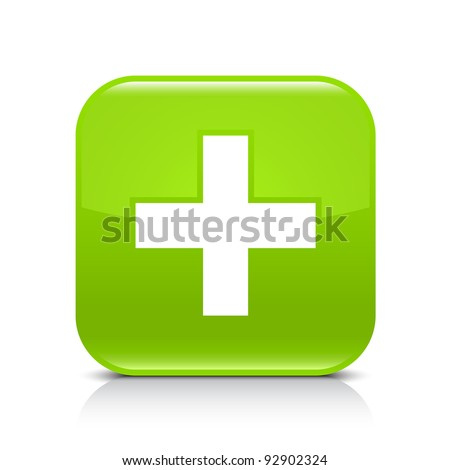Green glossy web button with addition sign. Rounded square shape icon with shadow and reflection on white background. This vector illustration created and saved in 8 eps - stock vector