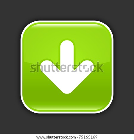 Green glossy web 2.0 button with arrow download sign. Rounded square icon with shadow on gray. 10 eps - stock vector