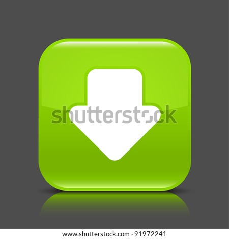 Green glossy web button with arrow download sign. Rounded square shape icon with black shadow and colored reflection on dark gray background. This vector illustration created and saved in 8 eps - stock vector