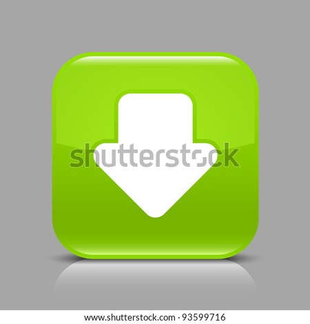 Green glossy web button with arrow download sign. Rounded square shape icon with black shadow and light reflection on gray background. This vector saved in 8 eps. See more buttons in my gallery - stock vector