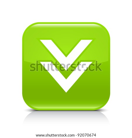 Green glossy web button with arrow download sign. Rounded square shape icon with shadow and reflection on white background. This vector illustration created and saved in 8 eps - stock vector