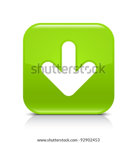 Green glossy web button with arrow download sign. Rounded square shape icon with shadow and reflection on white background. This vector illustration created and saved in 8 eps