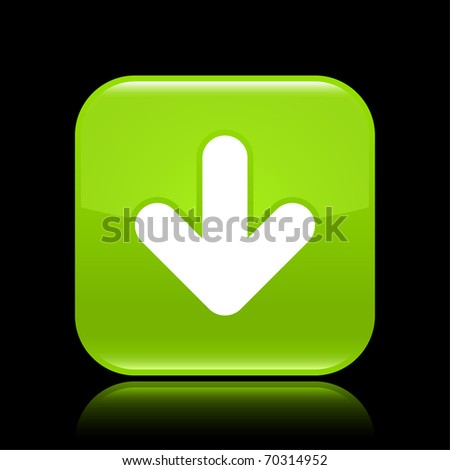 Green glossy web 2.0 button with arrow sign. Rounded square shape with reflection on black background - stock vector