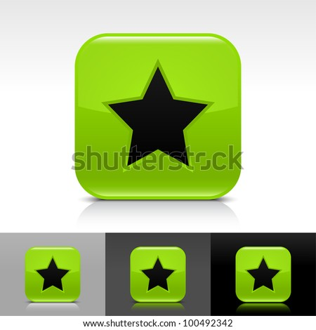 Green glossy web button with black star sign. Rounded square shape icon with shadow and reflection on white, gray, and black background. Vector 8 eps. - stock vector