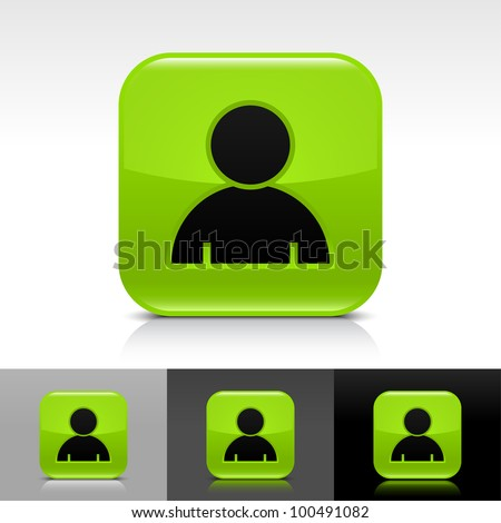 Green glossy web button with black user profile sign. Rounded square shape icon with shadow, reflection on white, gray, black background. Vector 8 eps. - stock vector