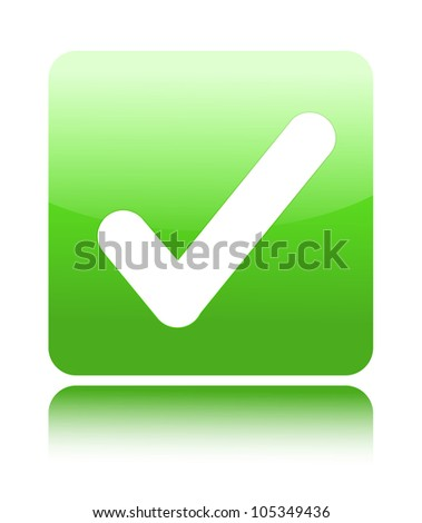 Green glossy web 2.0 button with check mark sign on white - stock vector