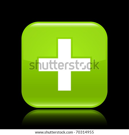 Green glossy web 2.0 button with cross sign. Rounded square shape with reflection on black background - stock vector