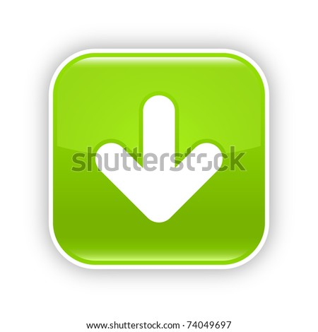Green glossy web 2.0 button with download sign. Rounded square sticker with gray shadow on white. 10 eps - stock vector
