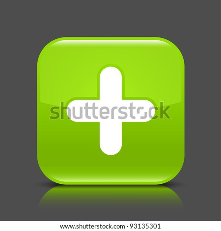 Green glossy web button with plus sign. Rounded square shape icon with black shadow and colored reflection on dark gray background. This vector illustration created and saved in 8 eps - stock vector
