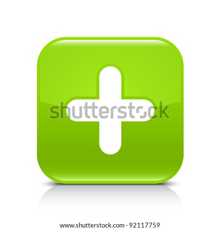 Green glossy web button with plus sign. Rounded square shape icon with shadow and reflection on white background. This vector illustration created and saved in 8 eps - stock vector
