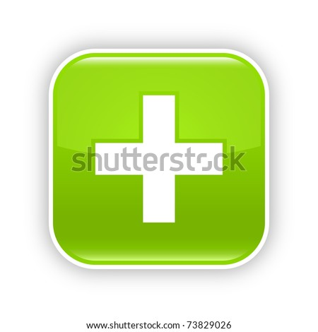 Green glossy web 2.0 button with plus sign. RRounded square sticker with shadow on white. 10 eps - stock vector