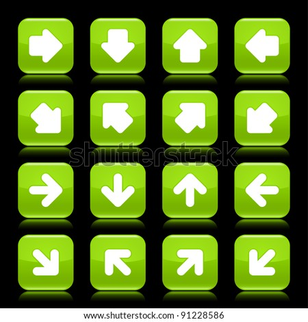 Green glossy web button with white arrow sign. Rounded square shape internet icon with reflection on black background. This vector illustration saved in 8 eps