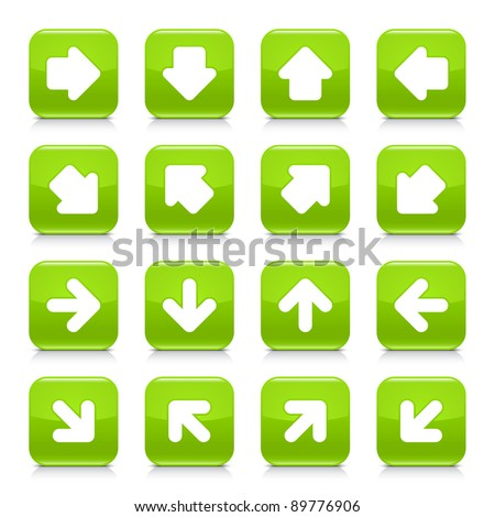 Green glossy web button with white arrow sign. Rounded square shape internet icon with shadow and reflection on white background. This vector illustration saved in 8 eps - stock vector
