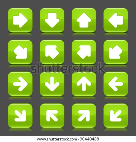Green glossy web button with white arrow sign. Rounded square shape internet icon with shadow and reflection on dark grey background. This vector illustration saved in 8 eps
