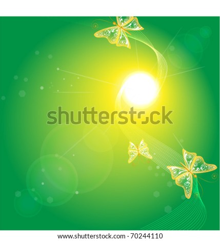 green glowing background with butterfly - stock vector