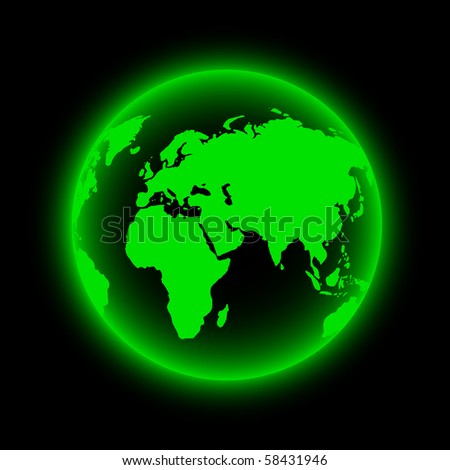 Green Glowing Neon Earth Globe (Vector) - stock vector