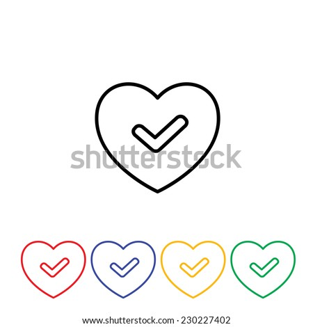 Green good heart icon flat abstract design - stock vector