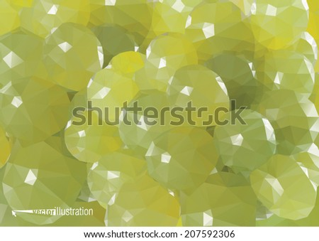 Green grape background. Low-poly triangular style illustration - stock vector