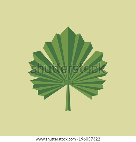Green Grape Leaf - Vector Illustration in Geometric Style for Creative Design Project. Organic product logo illustration. Design element.  - stock vector