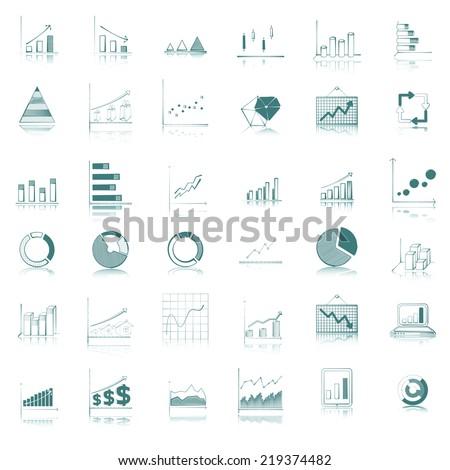 green graph and diagram icon set. - stock vector