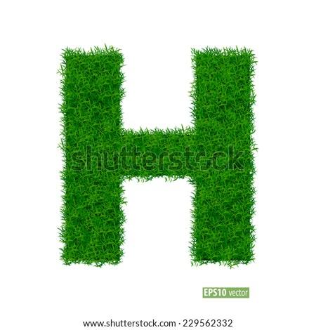 Green grass alphabet. Vector illustration - stock vector