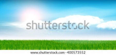 Green grass and blue sky. - stock vector