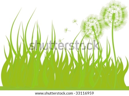 Green grass and dandelions in a vector file.
