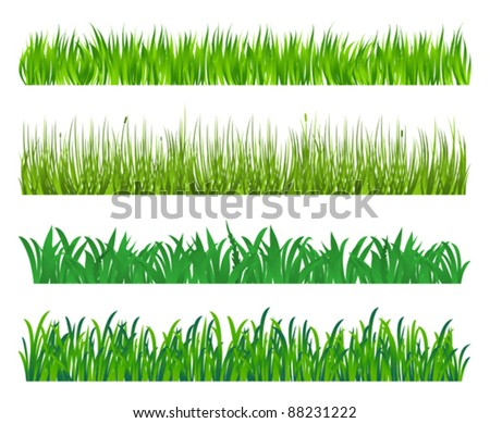 Green grass and field elements isolated on white background. Jpeg version also available in gallery - stock vector