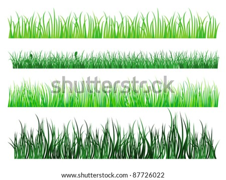 Green grass and field elements isolated on white background. Rasterized version also available in gallery