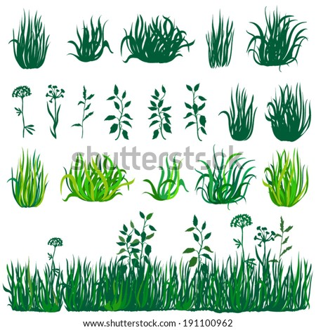 Green grass and flowers collection. 19 elements. - stock vector