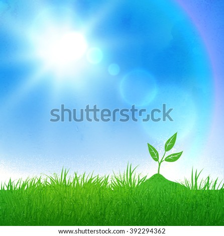 Green grass and growing sprout on blue sky and sunlight background. - stock vector