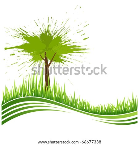 Green grass and tree. Eco background. Abstract green vector illustration with copyspace.