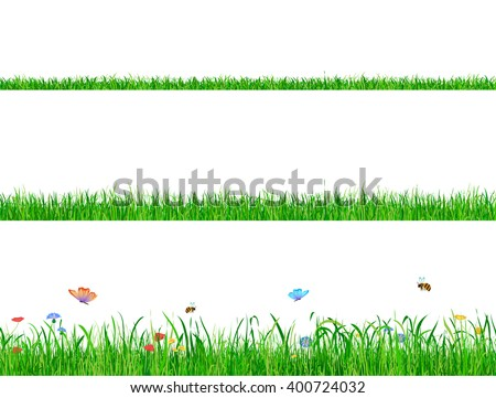 Green grass banner collections with flowers, butterflies and bees. Grass banner, Grass types, Grass concept, Grass set, Grass collection, Grass background, Grass field, Grass eco natural - stock vector