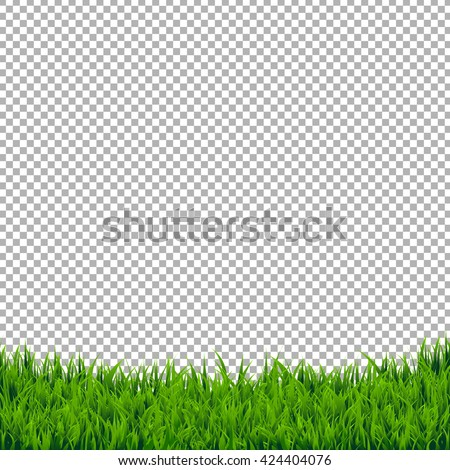 Green Grass Border Isolated, Isolated on Transparent Background, With Gradient Mesh, Vector Illustration - stock vector