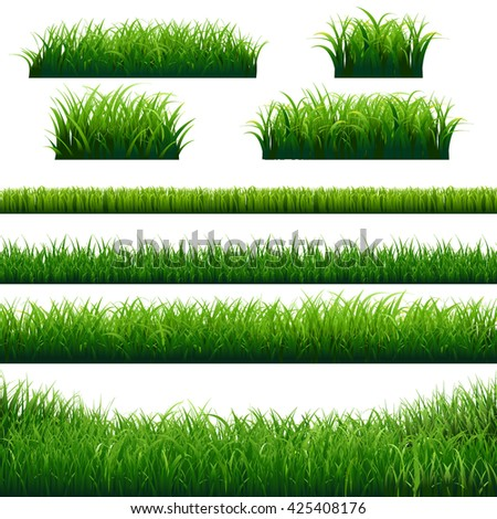 Green Grass Borders Big Set, Vector Illustration - stock vector