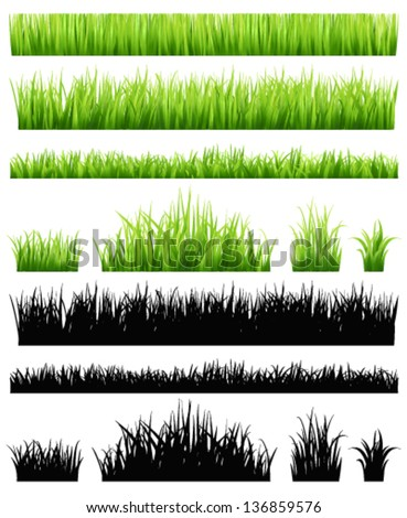 Green grass collection - stock vector