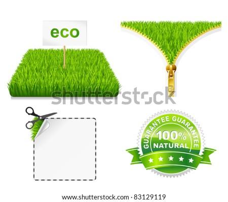 Green grass eco. Zipper open. Vector sscissors cut sticker. Label natural - stock vector