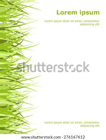 Green grass frame isolated on black. Vector illustration. - stock vector