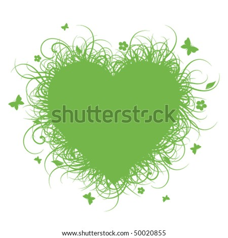 Green grass heart - stock vector