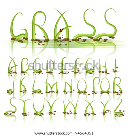Green grass vector alphabet with reflection - stock vector