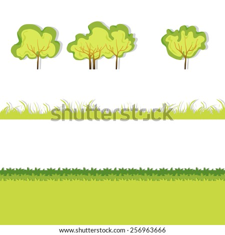 Green Grass with bushes. Isolated On White Background. Grass different shape. Vector Illustration. Concept  design elements for garden. Spring Garden with shadow. Eps 8 - stock vector
