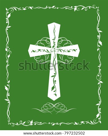 Green greeting card catholic cross baptism stock vector 797232502 green greeting card with catholic cross for baptism and easter m4hsunfo