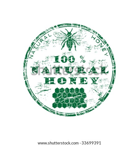 Green grunge rubber stamp with bee, honeycomb shape and the text one hundred percent natural honey written inside the stamp - stock vector