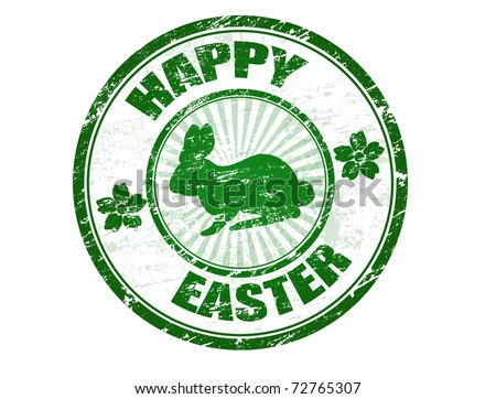 Green grunge rubber stamp with bunny silhouette and the text Happy Easter written inside the stamp - stock vector
