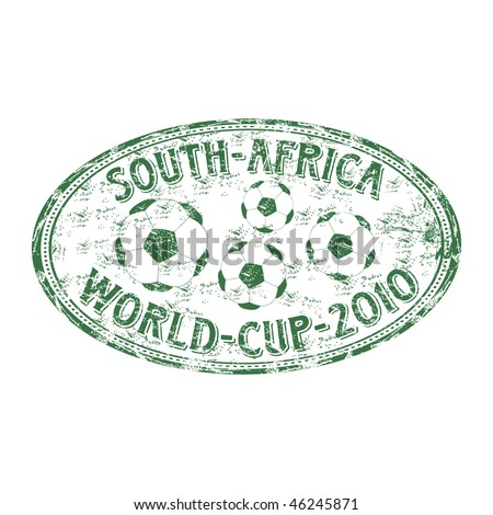 Green grunge rubber stamp with football balls and the text South Africa World Cup 2010 written inside the stamp - stock vector