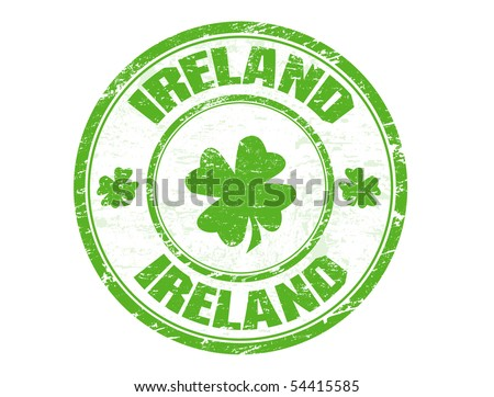 Green grunge rubber stamp with four leaf clovers and the name of Ireland written inside the stamp - stock vector