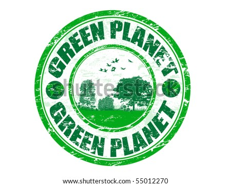 Green grunge rubber stamp with the text green planet written inside the stamp - stock vector